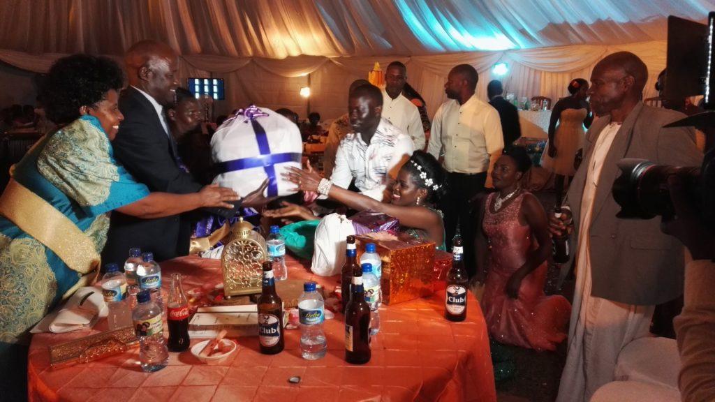 Uganda bridge receiving wedding gift