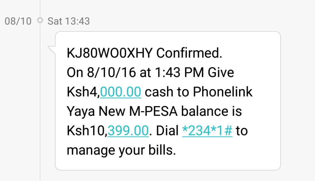 M-Pesa top up confirmation