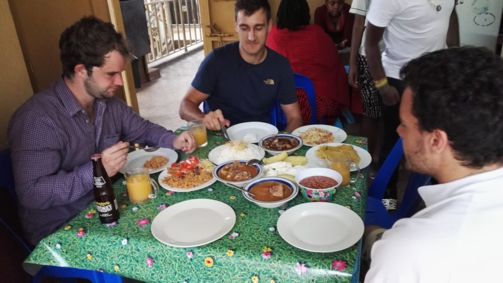 Eating Ugandan lunch